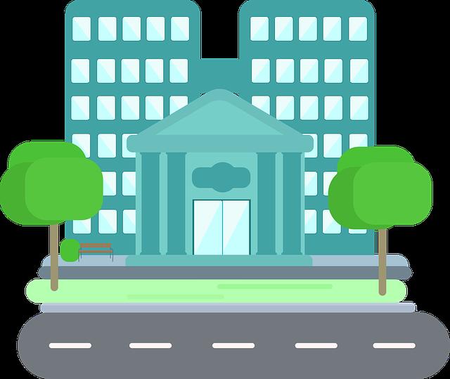 kreslený obrázek finančního úřadu, modré budovy a dvou stromů u ní