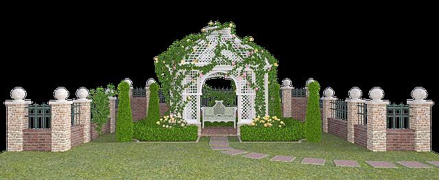 zahrada se zděným plotem